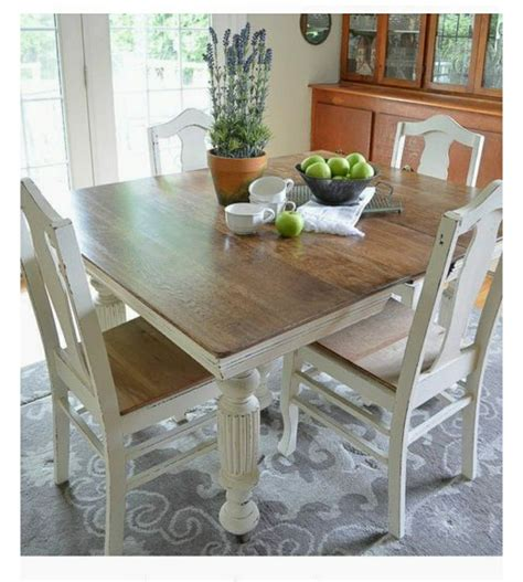 square dining table   chairs cream painted legs