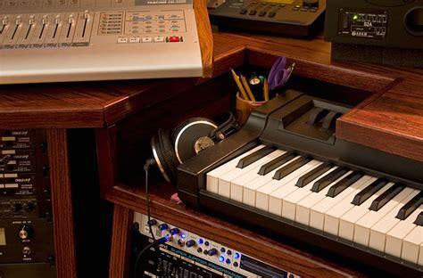 home studio with custom built desk