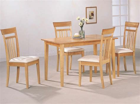 warm light maple wood finish modern pc casual dining set