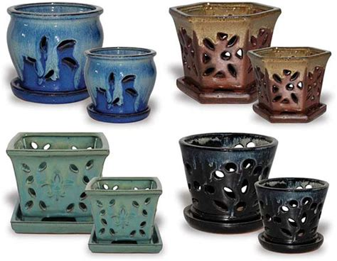 Wholesale Pottery Planters by Orchid Pot Assortment Fall Collection Ch627 634