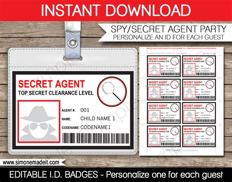 Detective Identification Card Template For by Secret Badge Birthday Printable Id Badge