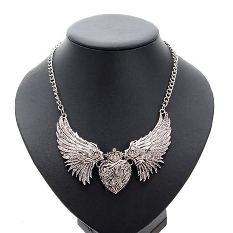 Rhinestone Wing Necklace vintage rhinestone wings pendant necklace for