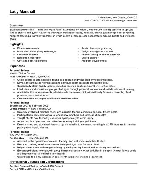 Personal Trainer Resume Example   Wellness Sample Resumes