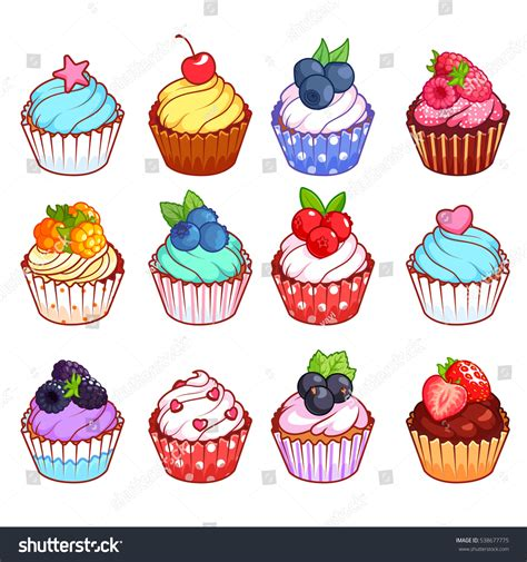 set cupcakes different toppings vector illustration stock vector 538677775 shutterstock