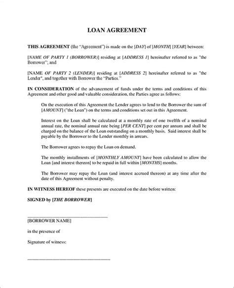 free simple loan agreement template loan contract sle free equipment loan agreement
