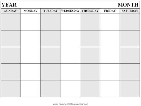 printable blank calendar format simple life