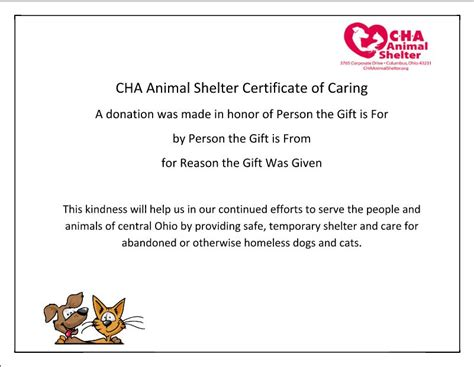Cha Animal Shelter Memorial Gifts Cha Animal Shelter Donation Has Been Made In Your Name Template