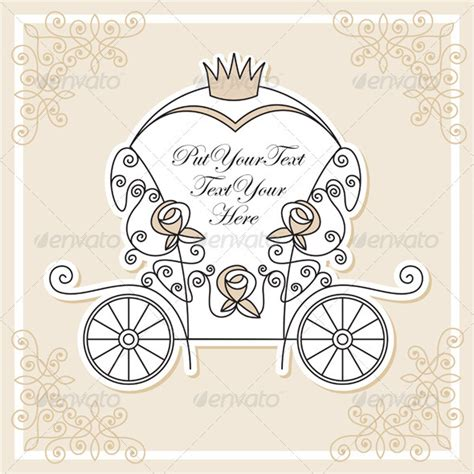princess carriage template wedding card templates editable invitations ideas