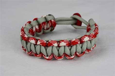 grey red and white camouflage and grey paracord bracelet unity band w red button back