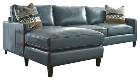 Turquoise Leather Sofa Turquoise Leather Sectional With Chaise Lounge Transitional Sectional Sofas By Silver