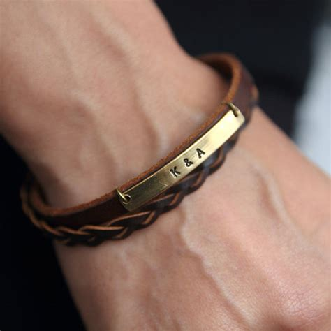 personalized brown leather bracelet holycool net
