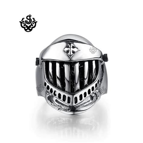 Skull Ring Helmet silver bikies ring solid stainless steel skull helmet band openable ebay