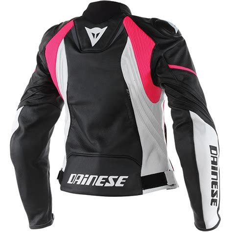 Dainese Racing D1 Leather Jacket Black Fuschia dainese avro d1 leather jacket black white fuschia free uk delivery