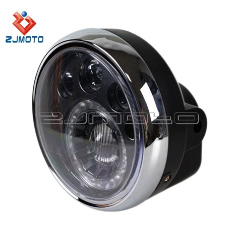 Led Motorcycle Headl zjmoto custom 7 quot motorcycle led headlight e 12v led motorcycle lights vision