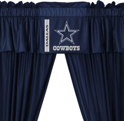 cowboy window treatments nfl dallas cowboys 5 curtains and valance set