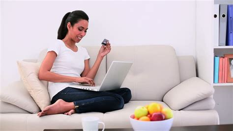 Ls For Living Room Shopping Attractive Sitting On Using Laptop And