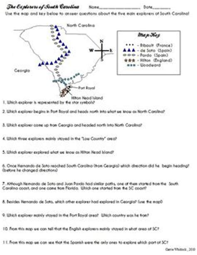 Carolina Worksheets by South Carolina Explorers Map Activity 3 2 2 Map