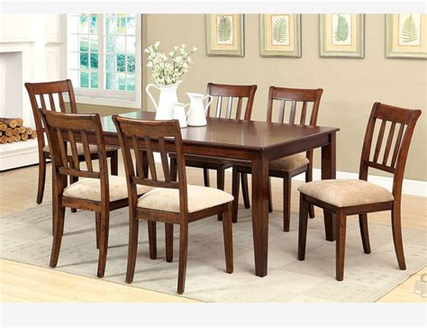 F 7 Pc Brown Cherry Wood Dining Room Set Chairs Fabric Cherry Wood Dining Room Furniture