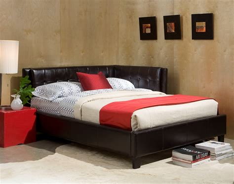 Corner Bed Headboard Black Leather Tufted Corner Headboard King Bed With White Bed Cover Ideas