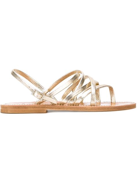strappy flat shoes lyst k jacques strappy flat sandals in metallic