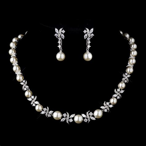 necklace for timeless pearl cz bridal jewelry set