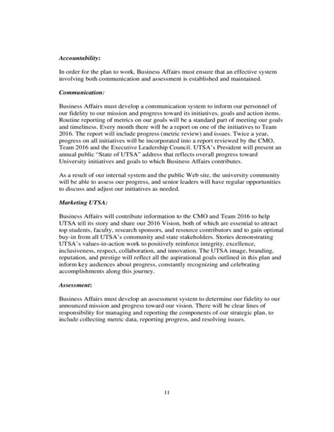 strategic plan template university of texas free download