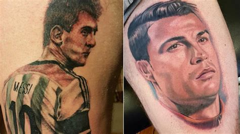messi tattoo espalda guerra de tatuajes entre cristiano y messi 161 as 237 son los