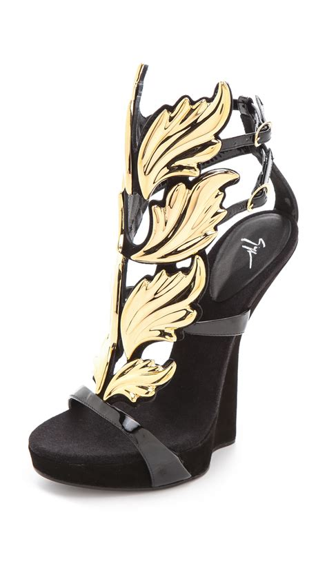 black and gold flat shoes giuseppe zanotti baroque leaf sandals in gold black lyst