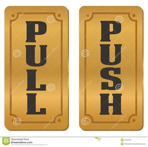 Push Door by Pull And Push Door Signs Stock Illustration Illustration