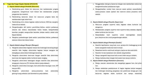 berkas sekolah tugas dan fungsi kepala sekolah emaslim