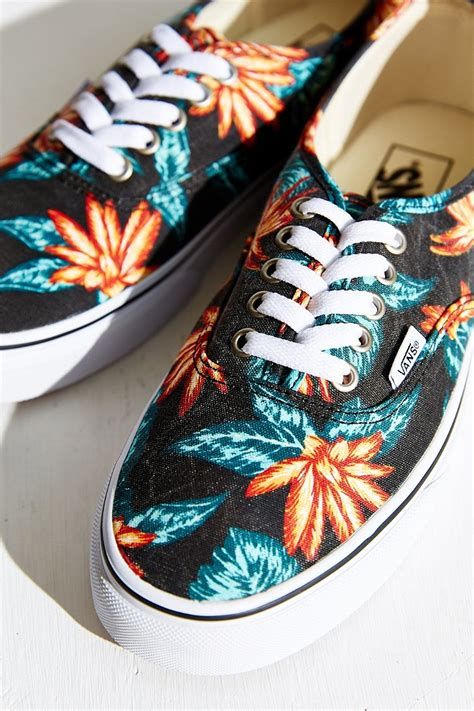 vans authentic vintage aloha sneaker in black lyst