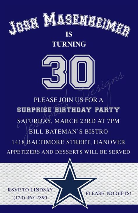 Dallas Cowboys Themed Adult Birthday Invitations Dallas Cowboys Invitation Template