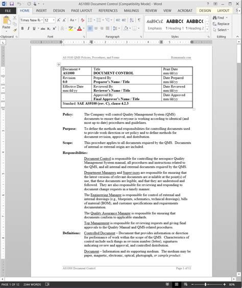 documenting procedures template as9100 document procedure