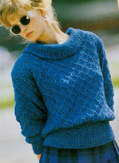 cowl neck knitting pattern sweater instant pdf digital vintage knitting pattern