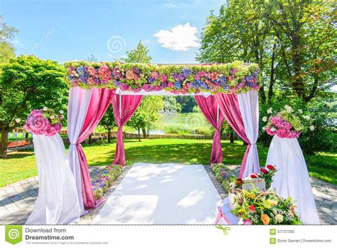 Flower Garden Wedding Beautiful Wedding Arch With Flowers In Garden Stock Photo Image Of Garden Blossom 57737330