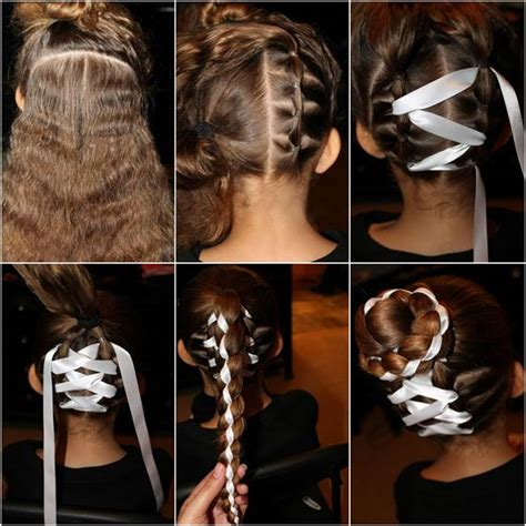 cute hairstyles ribbon how to diy cute braided bun with ribbon hairstyle ribbon
