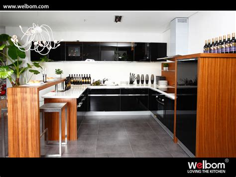 china modern high gloss black kitchen cabinets glass doors