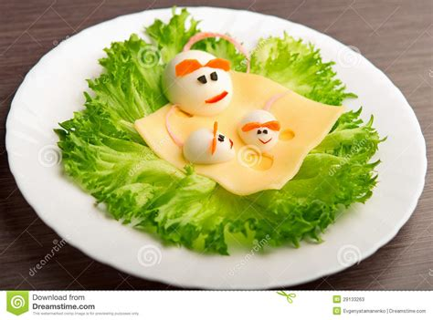 design photo for food design of food for children eggs in the shape of mouse