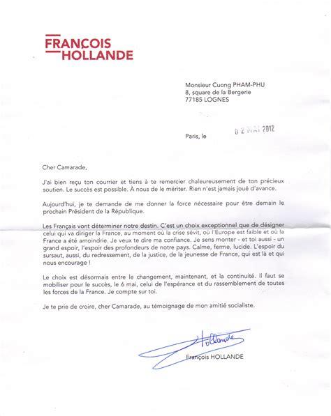 Exemple Lettre De Salutation Amicale Lettre De Fran 231 Ois Hollande Le De Cuong Pham Phu