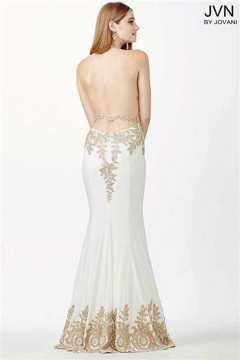 Gold And White Fitted Prom Dresses Naf Dresses by Fitted Backless Prom Dress With Halter Neckline