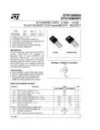 transistor w15nb50 w15nb50 stmicroelectronics n channel 500v 0 33ohm 14 6a t0 247 isowatt218 powermesh mosfet