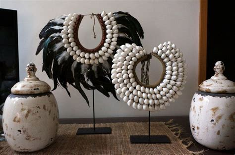 tribal shell feather necklace neckpiece collectable decor