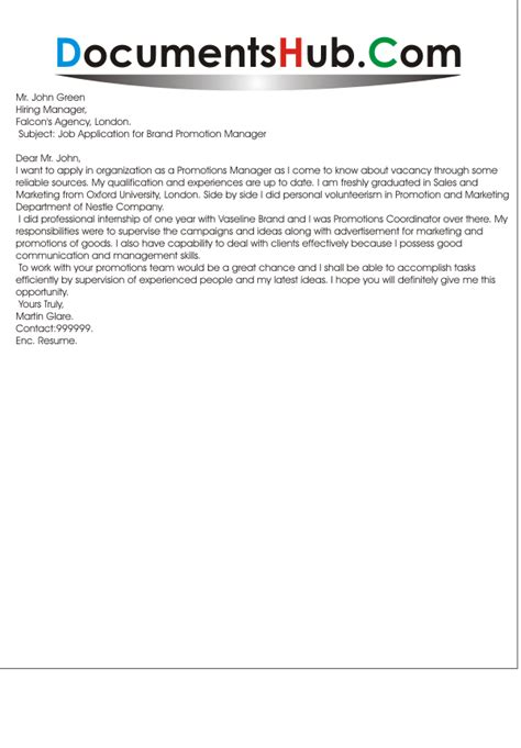 Promotion Letter Manager cover letter position sle