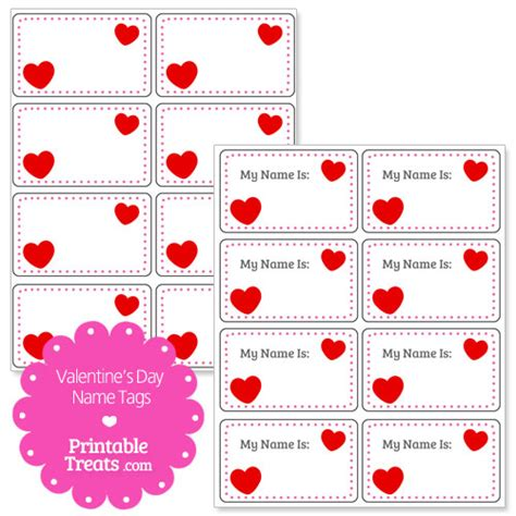 printable heart shaped name tags valentines day heart name tags printable treats com