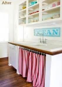 Lettered Cottage Kitchen - how to cleverly conceal clutter diy fabric curtains
