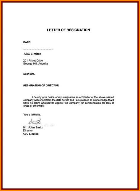 Resignation Letter For Personal Reasons 7 Simple Resignation Letter Personal Reason Farmer Resume