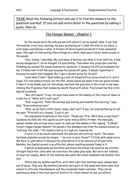 reading comprehension test ks3 hunger games comprehension answers by sazo123 teaching