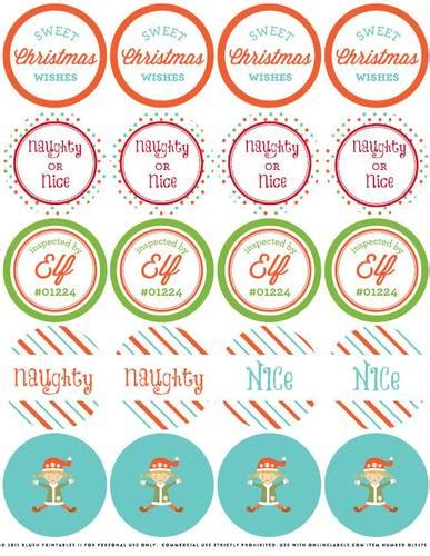 printable christmas round tags free christmas elf printables and holiday label templates