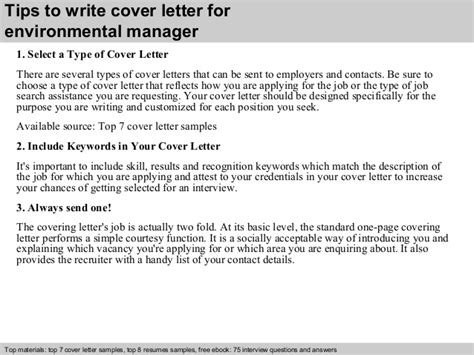 Environmental Officer Cover Letter by Environmental Manager Cover Letter