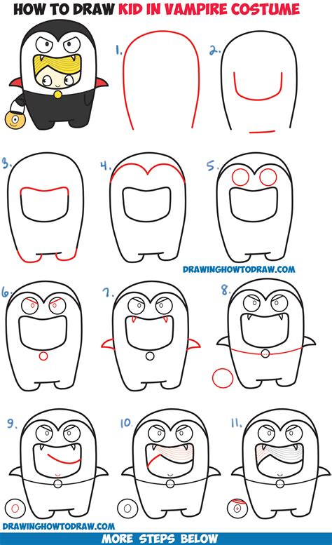 how to draw a how to draw a kid in a costume kawaii easy step by step